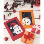 ZI 8879 Cross stitch kit with mouline and beads - Postcard - Playful snowman