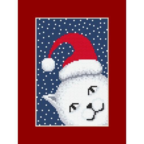 ZI 8880 Cross stitch kit with mouline and beads - Postcard - Playful kitten