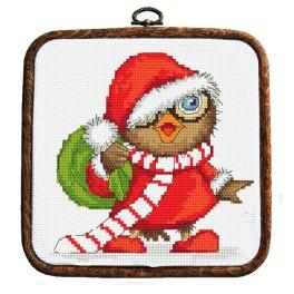 Set with tapestry, mouline and frame - Christmas owl