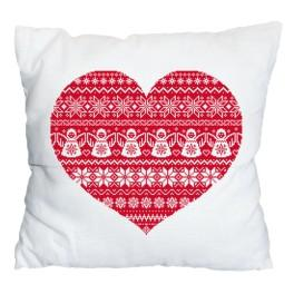 Cross stitch set with mouline and a pillowcase – Pillow - Scandinavian heart