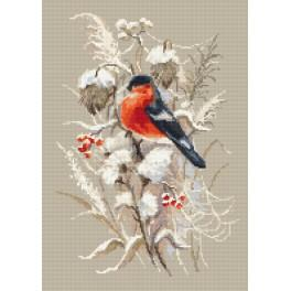 Kit with tapestry and mouline - Winter bullfinch