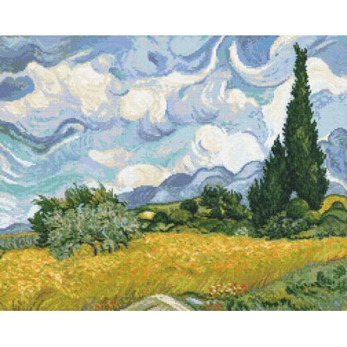 GC 8884 Cross stitch pattern - Wheat field with cypresses - V. van Gogh