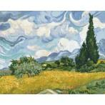 Cross stitch set - Wheat field with cypresses - V. van Gogh