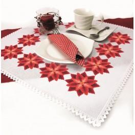 Cross stitch kit with mouline and napkin - Napkin - Stylized Poinsettia I