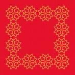 ZU 8864-02 Cross stitch kit with mouline and napkin - Napkin - Stylized Poinsettia II