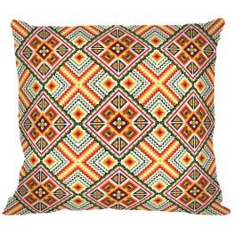 Cross stitch set with mouline and a pillowcase – Pillow - Colourful squares