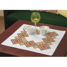Cross stitch set with a napkin - Colourful squares