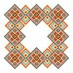 Cross stitch kit with mouline and napkin - Colourful squares