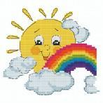 Cross stitch pattern - Sun with a rainbow