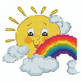 Cross stitch kit - Sun with a rainbow