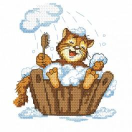 Cross stitch set - Kitten in a bath
