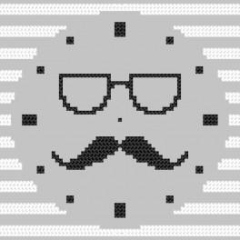 Cross Stitch pattern - Clock with moustache