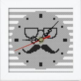Cross stitch set with mouline, clock and frame - Clock with moustache