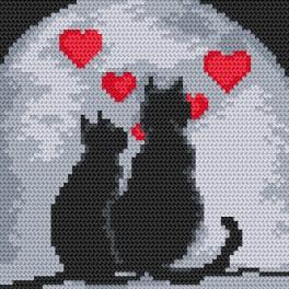 Cross stitch set with beads - Cats in love