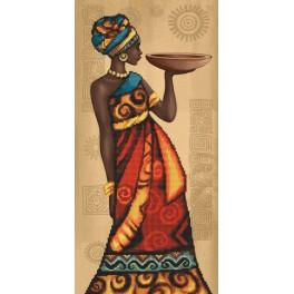 Set with printed pattern, mouline and printed background - African grace
