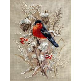 Cross stitch set with beads - Winter bullfinch