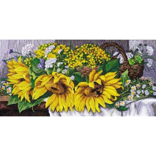 Kit with mouline and beads - Sunflowers