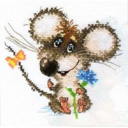 Cross stitch set - Enamored baby mouse