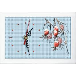 Cross stitch set with mouline, clock and frame - Clock with a branch of wild rose
