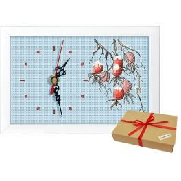 Gift set - Clock with a branch of wild rose