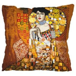 Cross stitch set with mouline and a pillowcase – Pillow - Portrait Adele Bloch-Bauer - G. Klimt