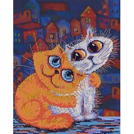 Set with mouline and printed background - Cat's love