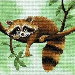 NCB 5559 Set with mouline and printed background - Racoon