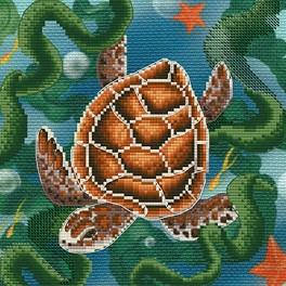 NCB 5566 Set with mouline and printed background - Turtle