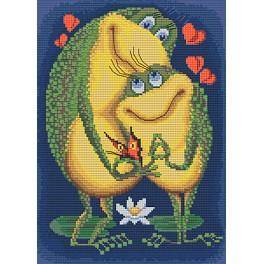 Cross stitch set with mouline and beads - The love