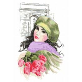 K 10099 Tapestry canvas - A girl with tulips