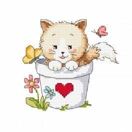 Cross stitch set - Cat in a pot