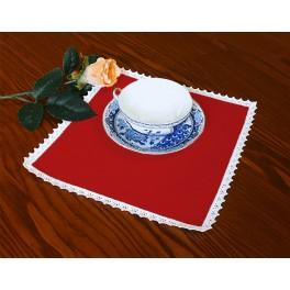 Napkin Aida 20x20 cm (0,65x0,65 ft) red