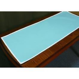 Runner Aida with lace 40x90 cm blue
