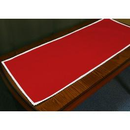 Runner Aida with lace 40x90 cm red