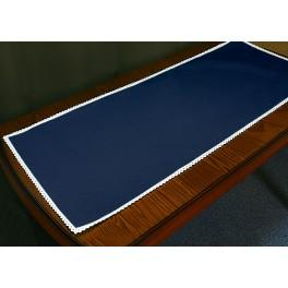 Runner Aida with lace 40x90 cm navy blue