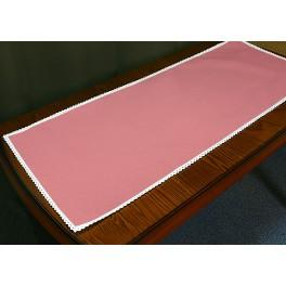 Runner Aida with lace 40x90 cm salmon pink