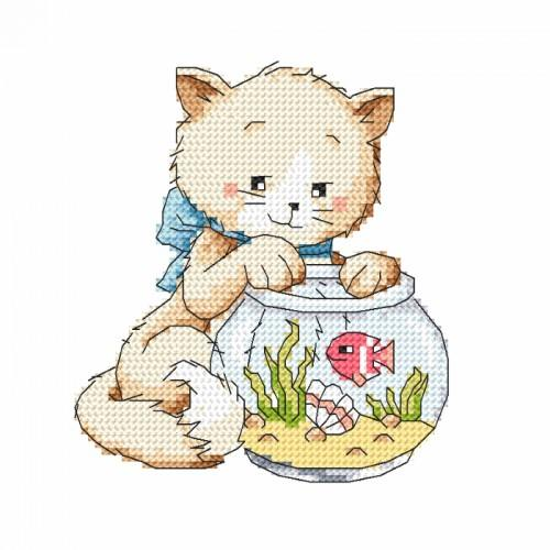 Cross stitch set - Playing with a fish