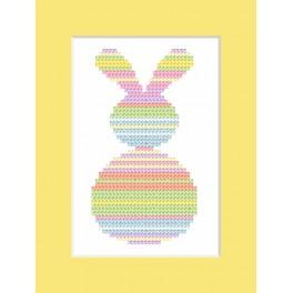 Cross stitch kit with a postcard - Pastel hare