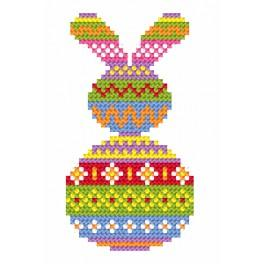 Cross Stitch pattern - Card - Colourful hare