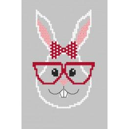 Cross Stitch pattern - Card - Hipster rabbit girl