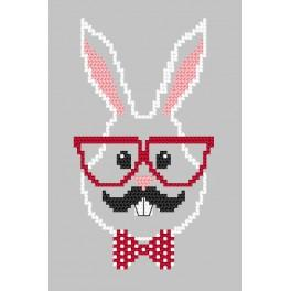 Cross Stitch pattern - Card - Hipster rabbit boy