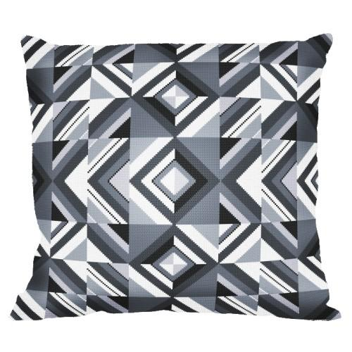Cross stitch set with mouline and a pillowcase – Pillow - Gray crumbs