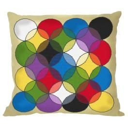 Cross stitch set with mouline and a pillowcase – Pillow - Kaleidoscope of colours