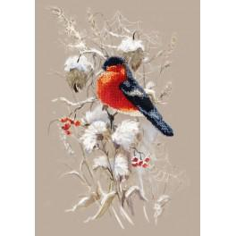 Set with beads, printed pattern and printed background - Winter bullfinch