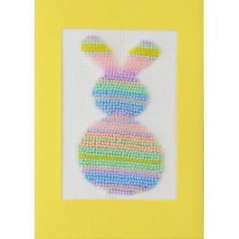 Set with beads and a postcard - Pastel hare