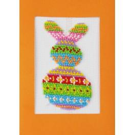 Set with beads and a postcard - Colourful hare