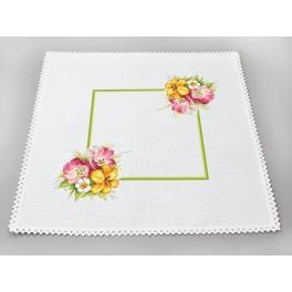 Cross stitch set with mouline and napkin - Napkin with a spring bouquet