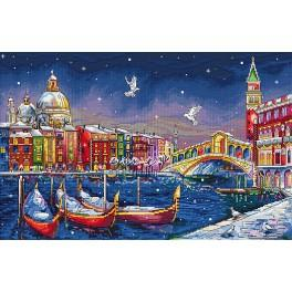 Cross stitch kit with mouline and beads - Holiday Venice