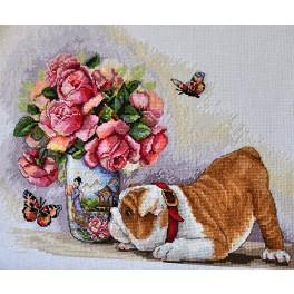 Cross stitch kit - Bulldog and butterflies