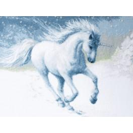 Cross stitch kit with beads end ribbons - Unicorn